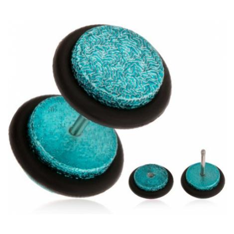 Tyrkysový fake plug do ucha z akrylu, pískovaný povrch, gumičky Šperky eshop