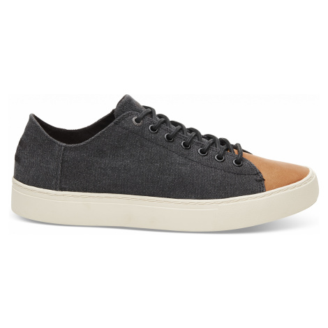 Black Wash Canvas/Leather Toe Men Toms