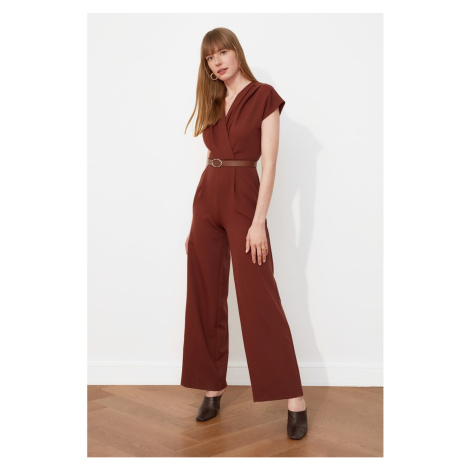 Trendyol Brown Belt Croissant Collar Jumpsuit