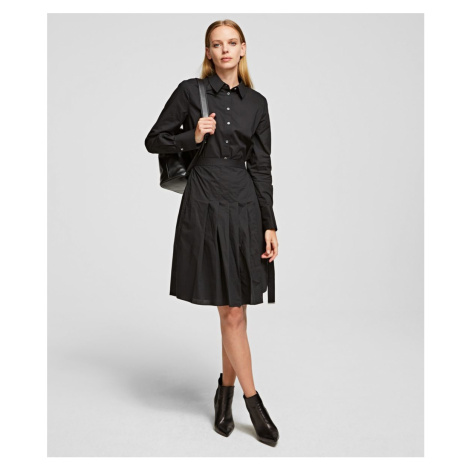 Šaty Karl Lagerfeld Poplin Shirt Dress W/ Pleats - Černá