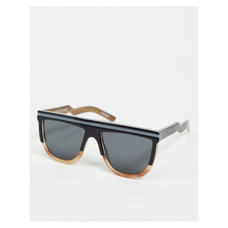 Spitfire Cut Two retro flat brow sunglasses in black and brown tort-Multi