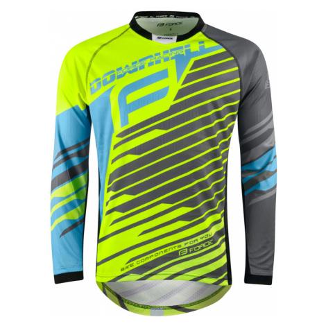 Pánský dres s dlouhým rukávem Force MTB Downhill žluto-modro-šedý