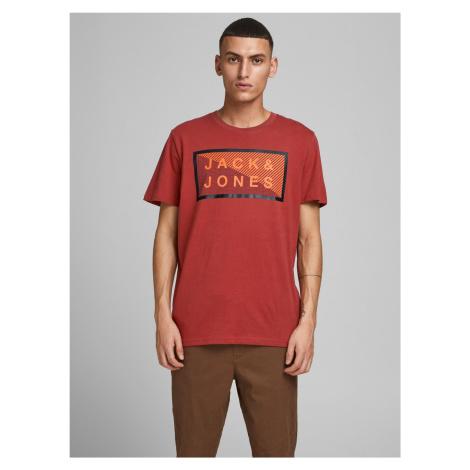 Jack & Jones červené pánské tričko Shawn s potiskem