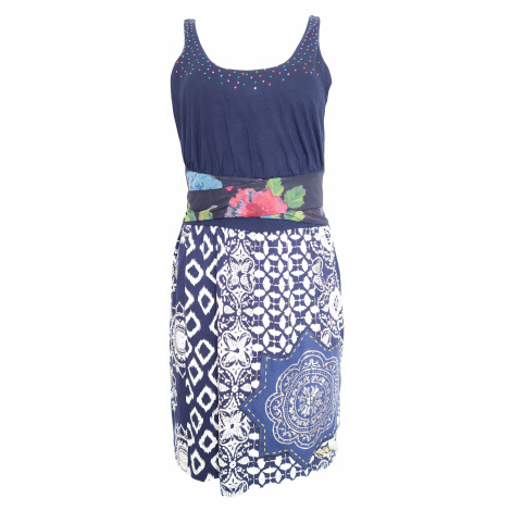 Desigual tmavě modré šaty s barevnými flitry