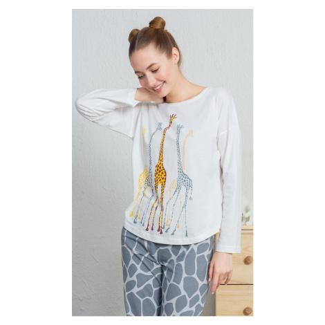 Dámské pyžamo dlouhé Žirafy