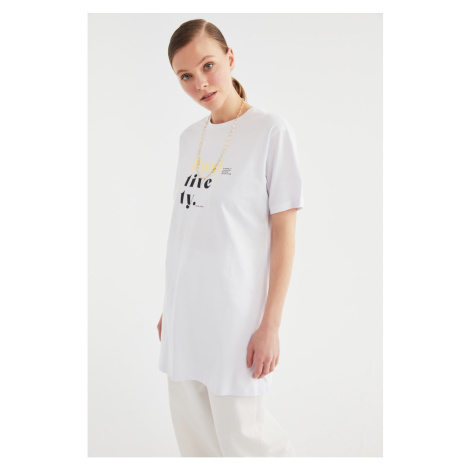 Trendyol White Printed Knitted Tunic T-shirt