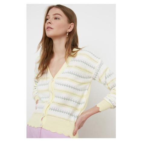 Trendyol Yellow Jacquin Knitwear Cardigan
