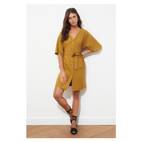 Trendyol Camel Belted Buttoned Dress