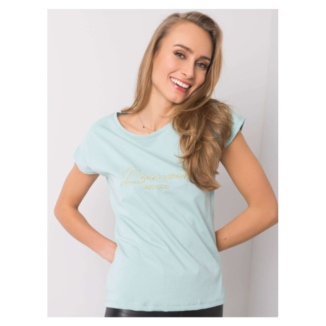 RUE PARIS Ladies´ mint t-shirt with embroidery Fashionhunters