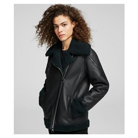 Bunda Karl Lagerfeld Shearling Biker Jacket - Zelená