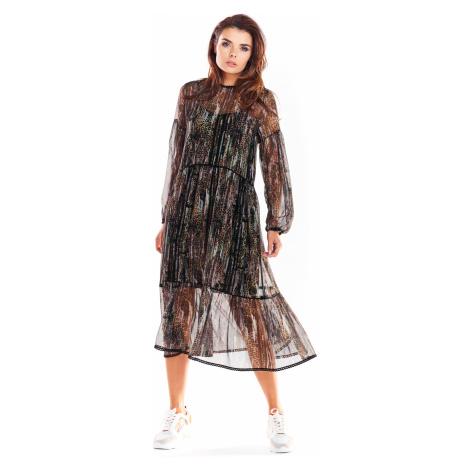 Vzorované Dvouvrstvé šaty průhledné z italského šifónu