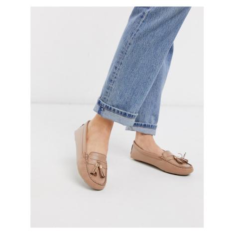 Dune gaze leather tassel loafer flat shoes in camel-Beige