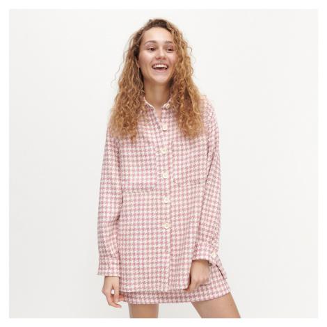 Reserved - Pepitová košilová bunda - Růžová