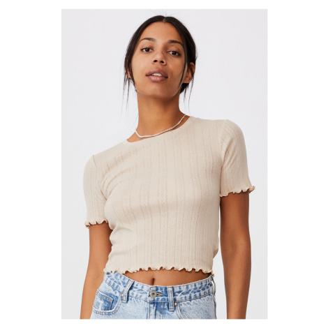 Dámské béžové triko s krátkým rukávem Pointelle Crop