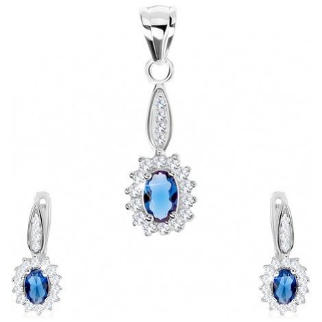 Set ze stříbra 925, náušnice a přívěsek, modrý ovál s čirým lemem, zirkony Šperky eshop