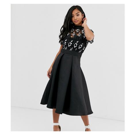 Little Mistress Petite embroidered upper skater dress-Black