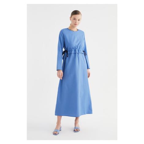 Trendyol Indigo Crew Neck Lace Detailed Dress
