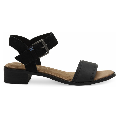 Black Leather/Suede Women Camilia Sand Toms