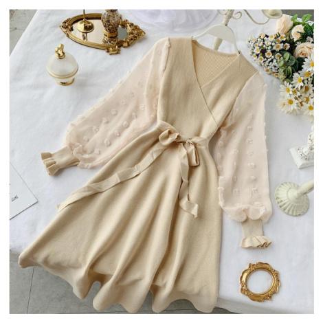Úpletové šaty se širokou sukní FashionEU