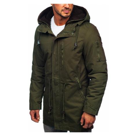 Zelená pánská zimní/jarní bunda 2v1 parka s odepínací vložkou Bolf 5283 Nature