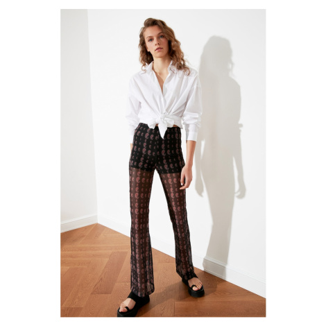 Trendyol Black Printed Tulle Flare Knitted Trousers