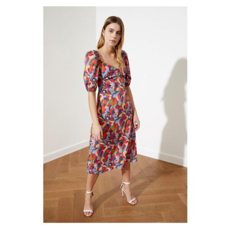 Trendyol Multicolored Patterned Balloon Sleeve Dress