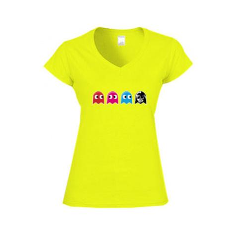 Dámské tričko V-výstřih Pacman Star Wars