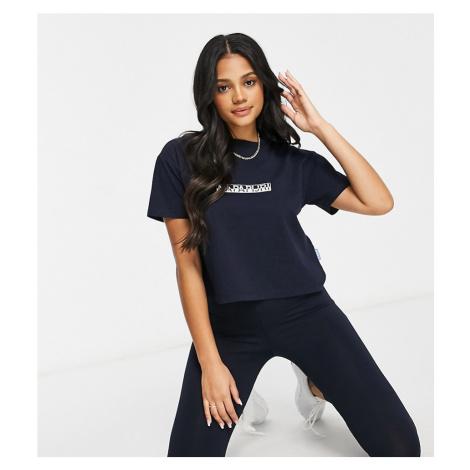 Napapijri Box cropped t-shirt in dark navy Exclusive at ASOS-Blue