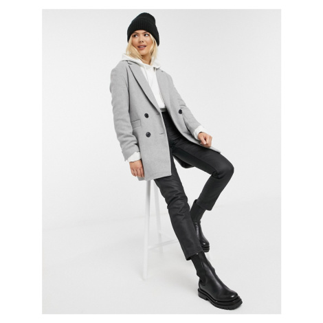 Pimkie double breasted tailored coat in grey