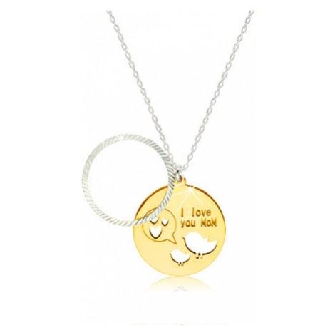 Lesklý náhrdelník ze stříbra 925 - kruhová známka s nápisem, ptáčky a srdíčky Šperky eshop