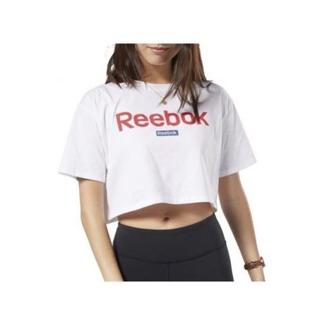 Reebok Sport Linear Logo Crop Tee Bílá