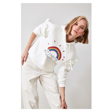 Trendyol Ekru Printed Hooded Sweatshirt