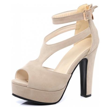 Společenské sandály páskové letní boty semišové na podpatku