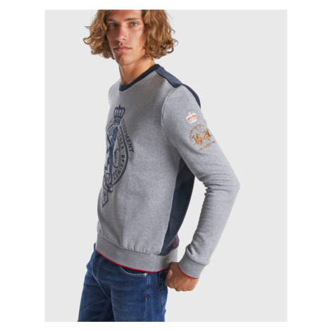 Mikina La Martina Man Fleece Crew Neck Cotton Fl - Šedá