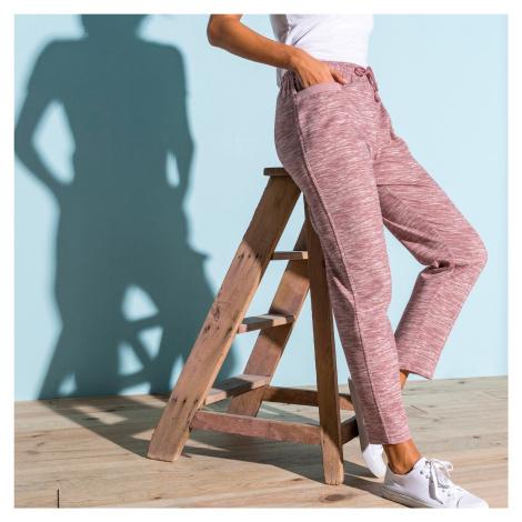Blancheporte Meltonové sportovní kalhoty s potiskem růžová melír