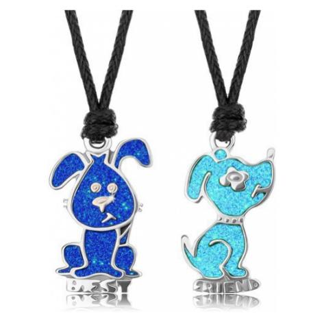 Šňůrkové náhrdelníky, světle modrý a tmavě modrý pejsek, glazura, nápis BEST FRIEND Šperky eshop