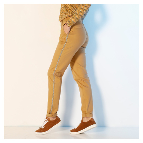 Blancheporte Chino kalhoty, třpytivé lampasy šafránová
