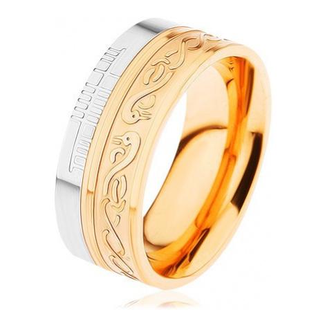 Lesklý prsten z oceli 316L, zlatá a stříbrná barva, spirála, had, zářezy Šperky eshop