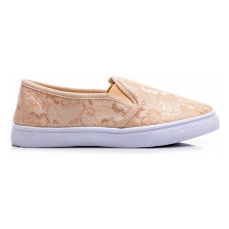 Béžové krajkové tenisky slip on Bellucci Shoes