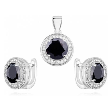 OLIVIE Černá sada stříbrných šperků 4582