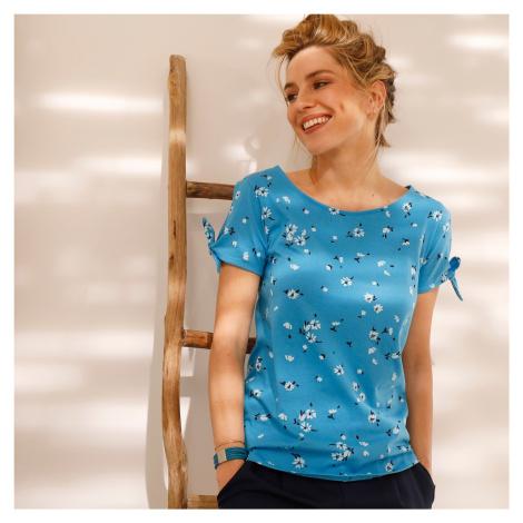 Blancheporte Tričko s potiskem a průstřihy na rukávech tyrkysová/bílá