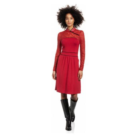 Krajkové šaty červené s dlouhým rukávm Vive Maria Asia night