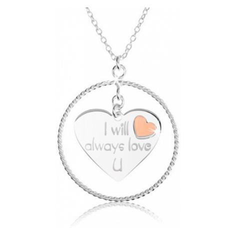 Náhrdelník ze stříbra 925, obrys kruhu, srdce s nápisem a červeným srdíčkem Šperky eshop