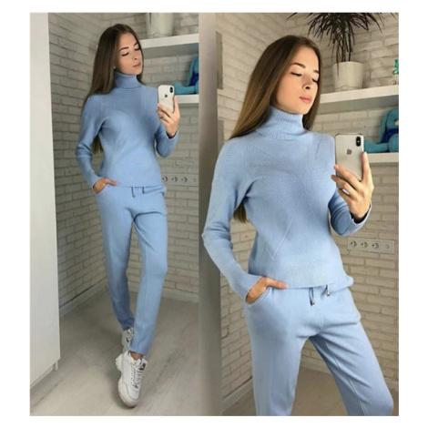 Dámský módní komplet teplý zimní set kalhoty + svetr rolák