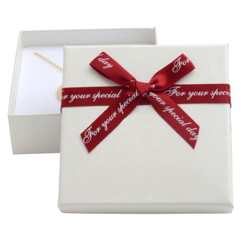 JKBOX Papírová krabička s bordó mašlí Special Day na střední sadu šperků IK005
