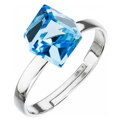 Stříbrný prsten s krystaly modrá kostička 35011.3 Victum