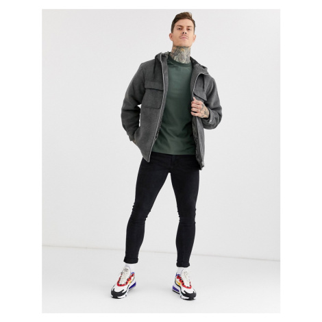 ASOS DESIGN jacket in wool mix with grey faux fur lining