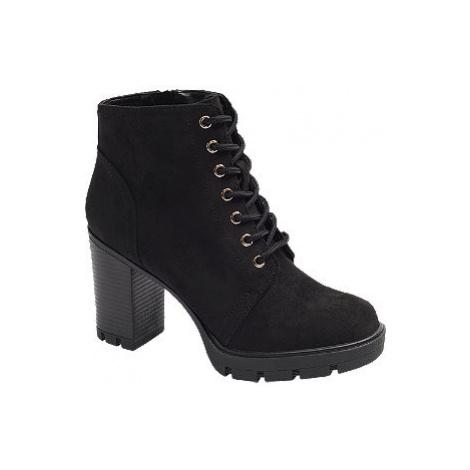 Černá šněrovací obuv se zipem Graceland
