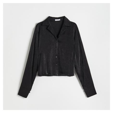 Reserved - Košile z texturované bavlny - Černý