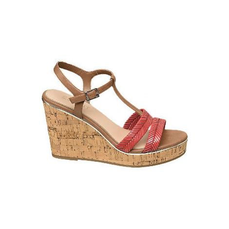 Hnědo-červené sandály na klínovém podpatku Esprit